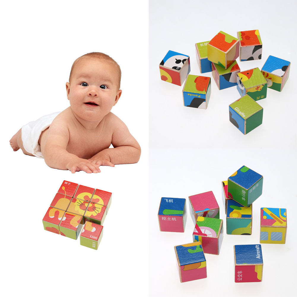 9pcs/set 3D Animal Wooden Puzzle Education Learning Tools Toys Baby Six Sides Hexahedral Jigsaw Puzzle Developmental Toy Gift(China (Mainland))