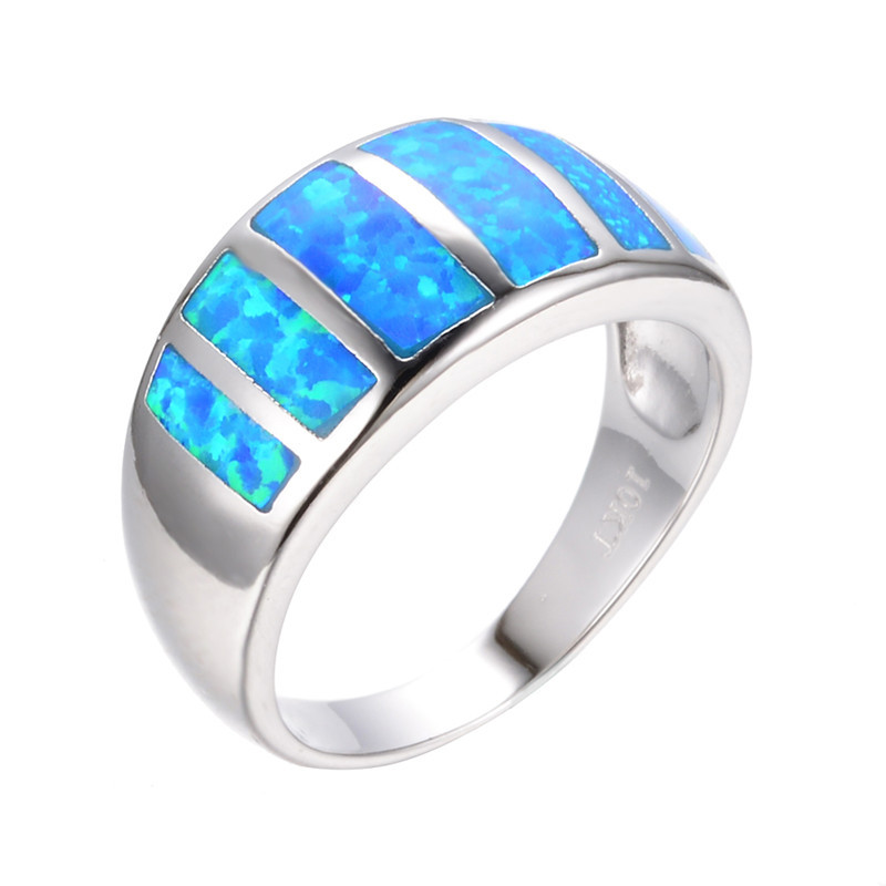 2015 Fashion Jewelry Size 6/7/8/9 Vintage Ocean Blue Fire Opal Ring 10KT White Gold Filled Women Wedding Engagement Rings RP0062(China (Mainland))