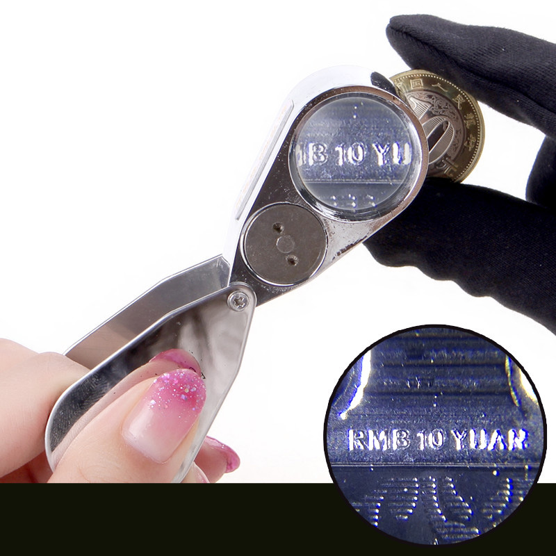 Magnifiers 40 times the magnifying glass illuminated LED identification stamps jewelery Man playing commemorative coins<br><br>Aliexpress