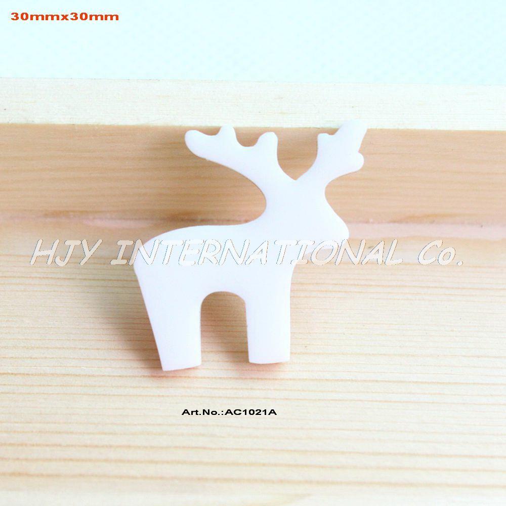 (80pcs/lot) White Christmas Deer Eco-Friendly Acrylic Gift Crafts Mosaics Art Projects -AC1021A(China (Mainland))