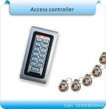 Бесплатная доставка металл чехол 125 кГц rfid-тегов + клавиатура системы контроля доступа + 10 шт. кристалл брелков