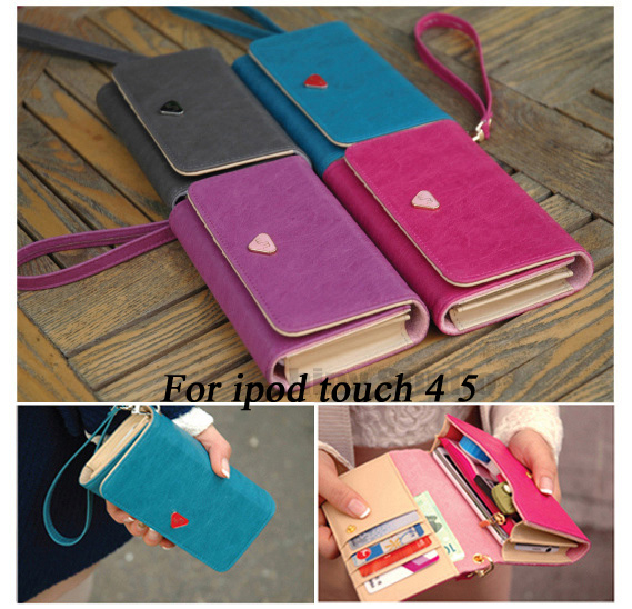 Luxury Mobile Phone Protective Bags Women Card Flip Wallet Leather Purse Case Cover For ipod touch 4 5 Brand New Rose Pink(China (Mainland))