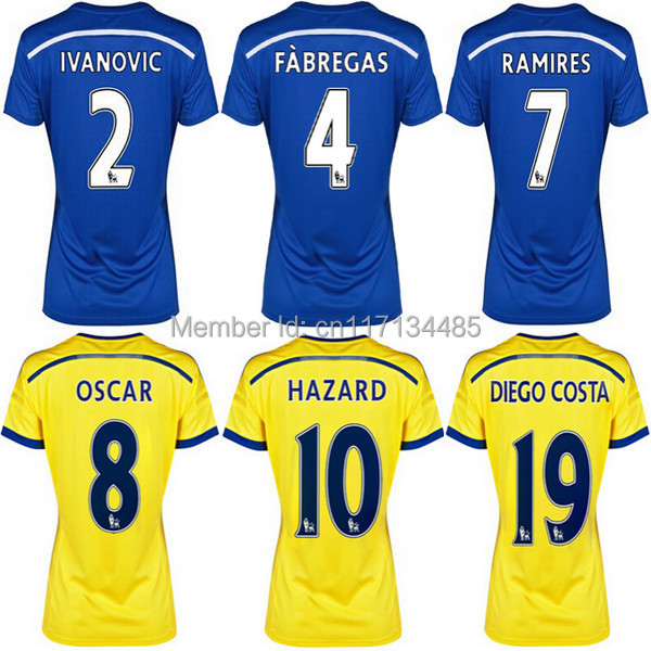Top thai quality 2014 15 Chelsea Women soccer Jerseys HAZARD OSCAR female home football shirts blue soccer uniforms+logos(China (Mainland))