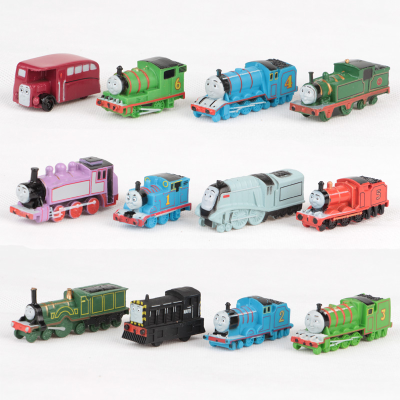 Wholesale 12pcs/lot Thomas and Friends Trains Trackmaster Engine Plastic Toy Mini Locomotive Models Toys Kids Birthday Gift(China (Mainland))