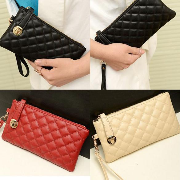 Fashion Women Zip PU Leather Clutch Case Lady Long Handbag Wallet Purse V3NF