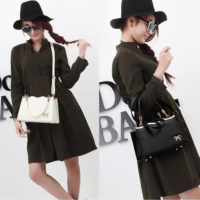 2015 New Handbags women over shoulder PU Leather Messenger Bags Solid White Black women shoulder bag Bolsas Femininas Tote(China (Mainland))