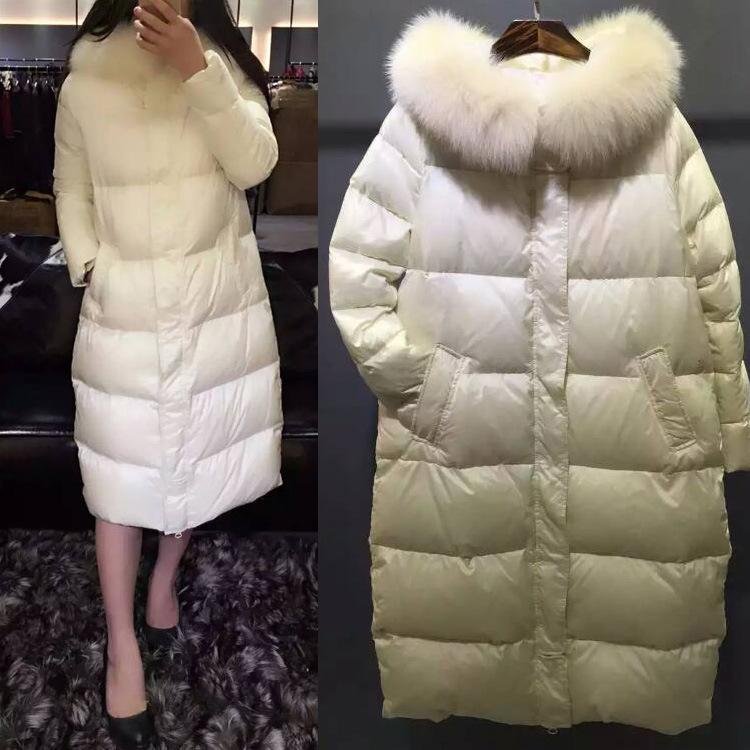 Фотография High Quality Europe Style Fashion Fox Fur Collar Women Winter Light White Goose Down Hooded Jackets Coat Warm Long Outwear
