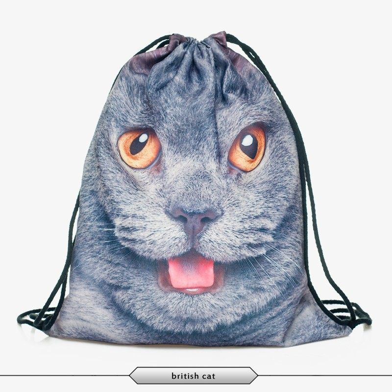 3D British cat print shopping bags the western fashion design Drawstring Pouch unisex backpacks Wholesale(China (Mainland))