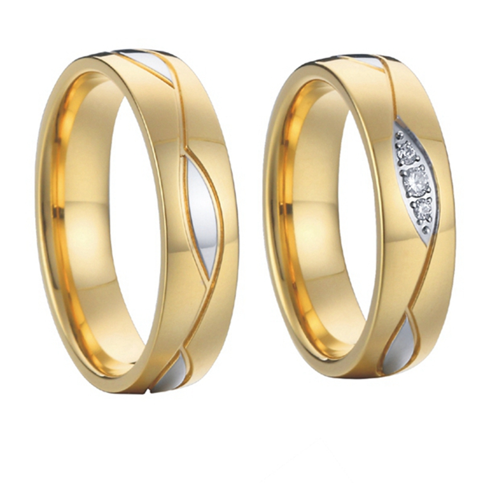 wedding rings sets for men and women gold plated health jewelry rings