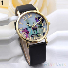 Women Golden Tone Roman Numerals Vases Printed Dial Faux Leather Band Watch WristWatch 2LLV 3Y3FD