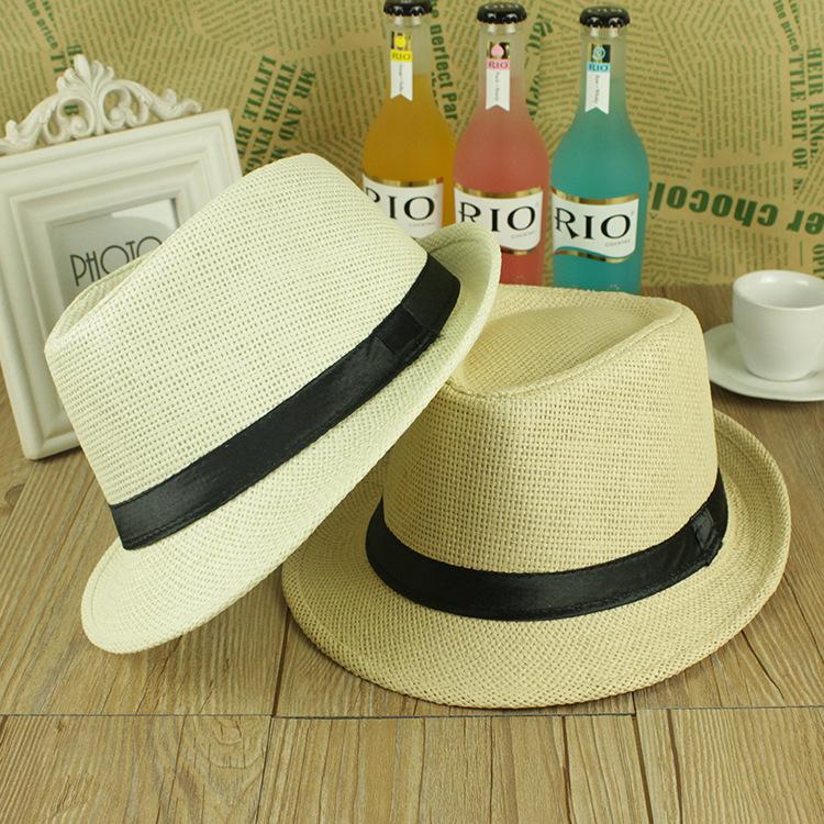 ONE SIZE ADJUSTABLE UNISEX MEN WOMEN SUMMER BEACH TRILBY STRAW PANAMA WIDE BRIM BEACH CAP ENGLISH STYLE SUN HAT(China (Mainland))