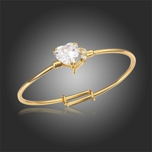 New Cute Yellow Gold Plated Clear Heart Zircon CZ & Crystal Anti-Allergic Bangles Bracelets For Newborn Baby Infant Jewelry(China (Mainland))