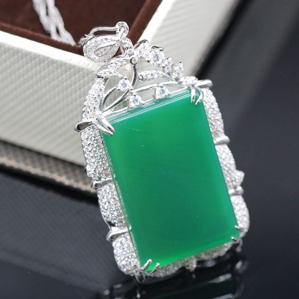 925 sterling silver square Chalcedony pendant necklace for women,New Fashion Jewelry Gift Wholesale and Retail<br><br>Aliexpress