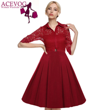 ACEVOG Brand 2016 Women Vintage Pleated Dress Summer Retro Style Sexy Pattern Slim Casual Party Swing Lace Dress 2 Pieces Dress(China (Mainland))