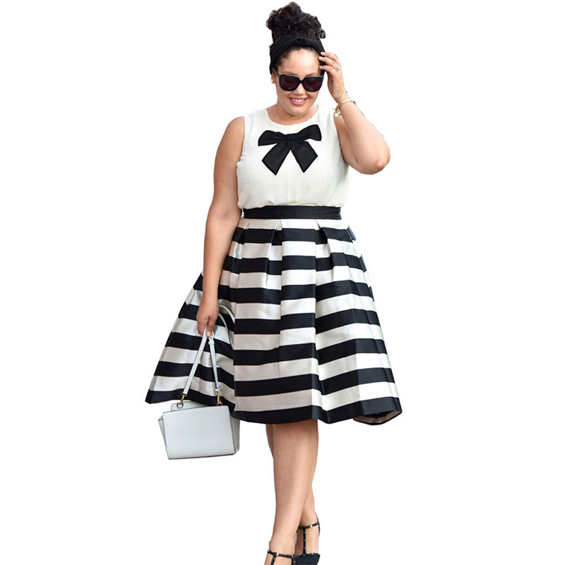 Fashion 2016 Summer Dress Women Black and White Plus Size ...