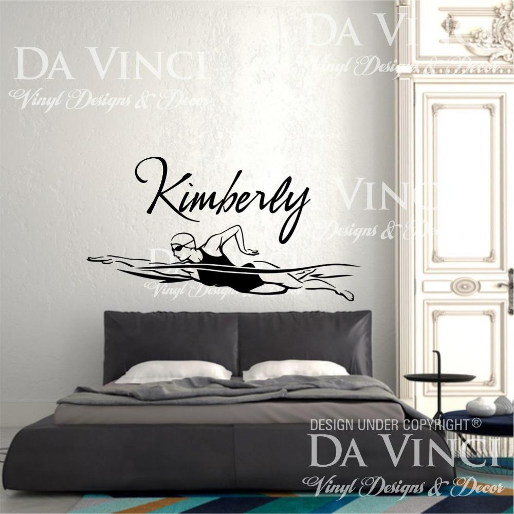 Swim swimmer swimming vinyl wall decal custom girl name for Swimming bedroom decor