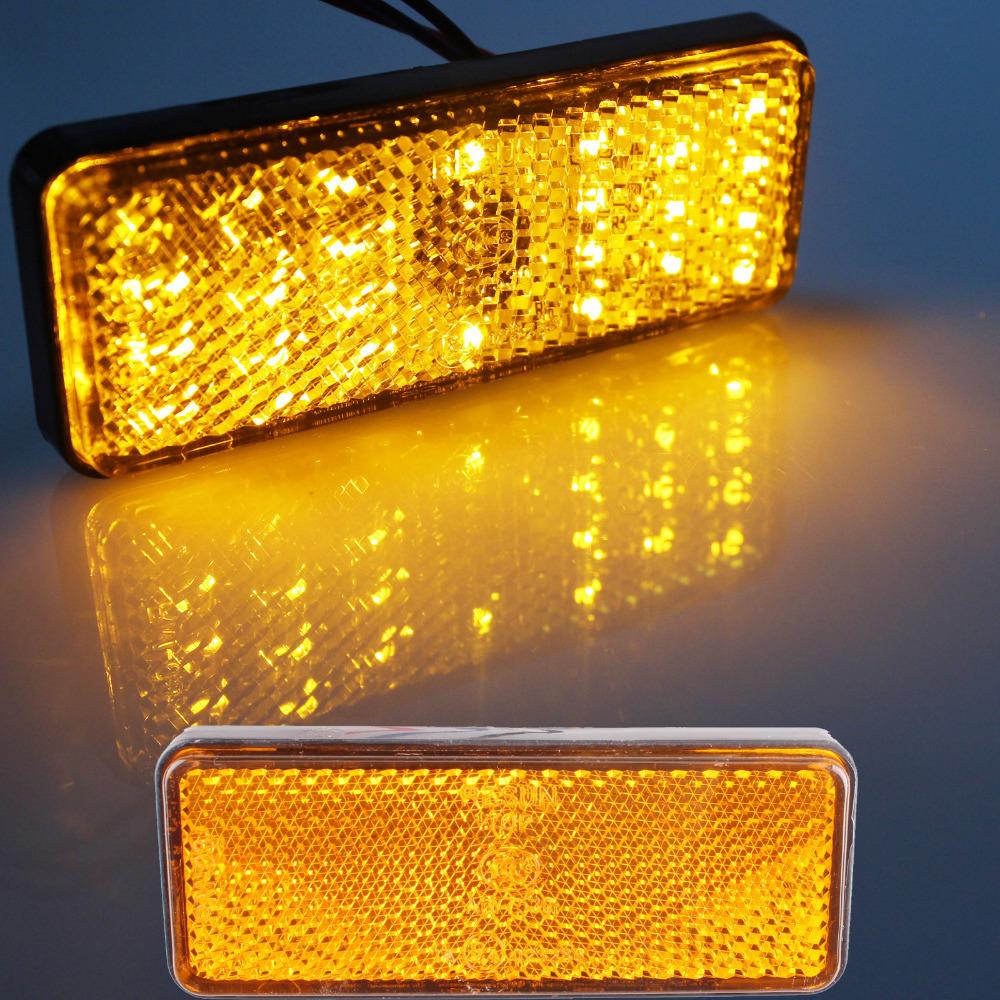 2pcs Universal LED Reflector Yellow Rear Tail Brake Stop Marker Light For SUV Truck Trailer Motorcycle Car(China (Mainland))