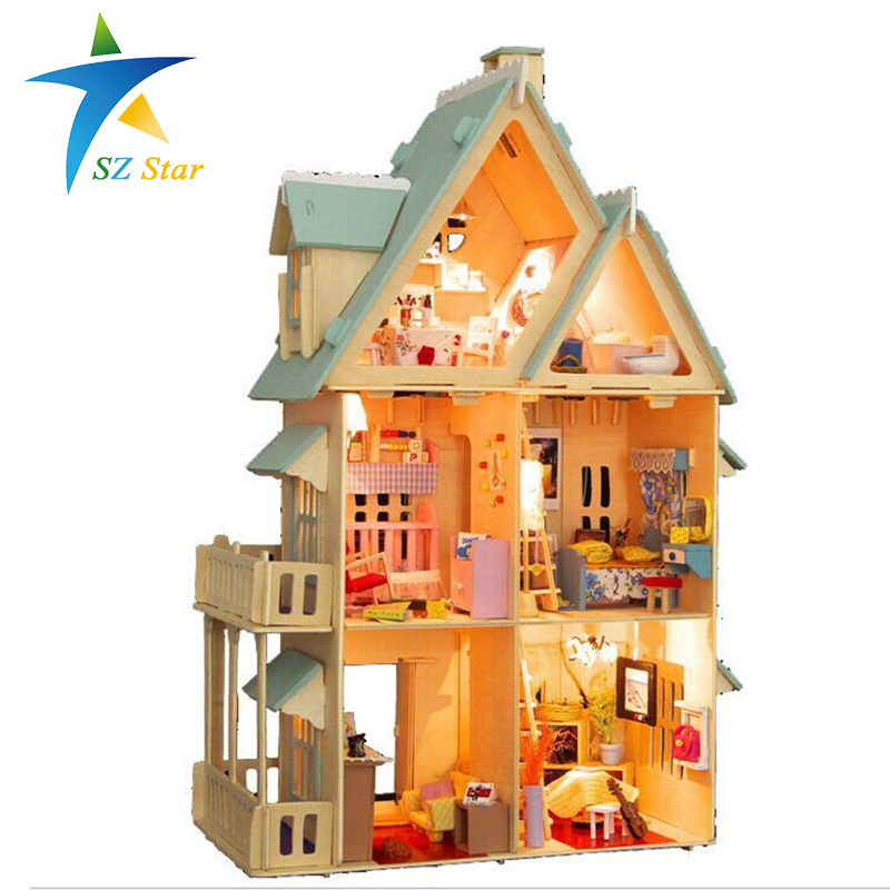 13809 Diy Doll House With Furniture Handmade Model Building Kits 3D villa Miniature Wooden Dollhouse Toy Gifts DE(China (Mainland))