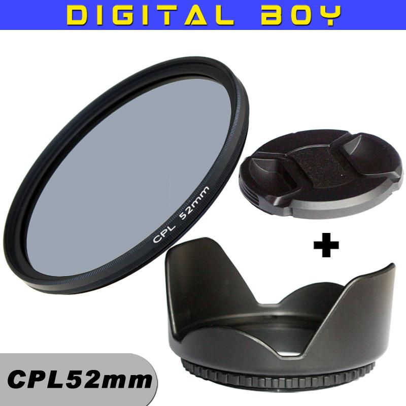 Digital Boy Camera Accessories 52mm CPL polarizing filter + lens hood + lens cap kit for dslr canon sony nikon d3100 d3200<br><br>Aliexpress
