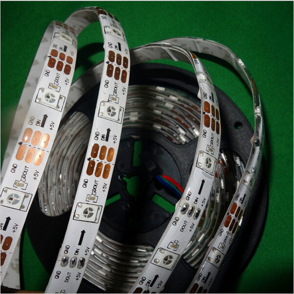 Addressable 5m 30LEDs/m DC5V SK6812 led pixel strip,waterproof in silicon coating,with 30pixels/M;WHITE PCB(China (Mainland))