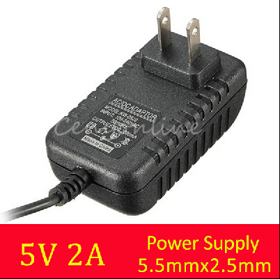 New Arrival 2.5mm*5.5mm US Plug for DC 5V 2A AC Adapter Charger Power Supply for LED Strip Light Audio Video Power Supply(China (Mainland))