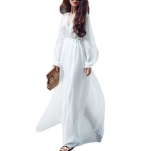 Buy Women Summer White Dress Boho Evening Party Long Maxi Beach Dresses V-neck Chiffon Sundress for $8.88 in AliExpress store