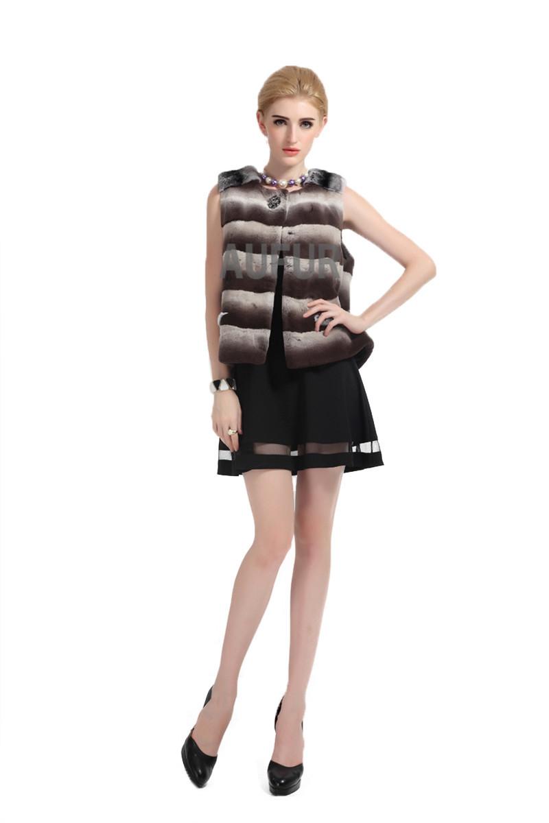 New Women Real Rex Rabbit Fur Vest Casual Imitated Chinchilla Gilet Waistcoat Full Pelt Sleeveless AU00476Одежда и ак�е��уары<br><br><br>Aliexpress