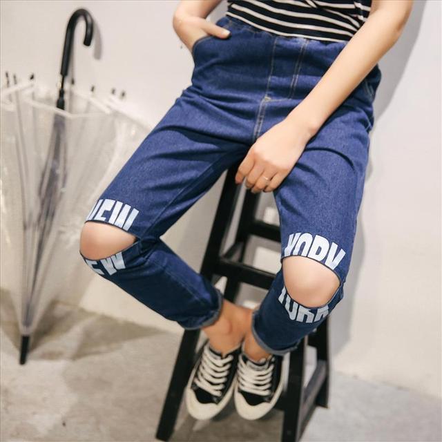 Harajuku BF стиль письма отверстие женщины весна мода студент джинсовые брюки шаровары ...
