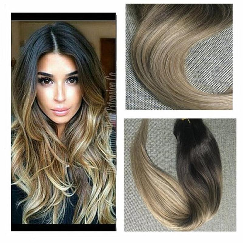 Brillo completo Destacado Balayage Raíces de Color Marrón Oscuro de Color 2 6 18 Dip Teñido Clip en Extensiones de cabello Pe.