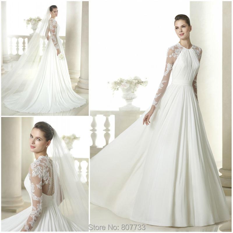 Simple Wedding Dress High Neck : Aliexpress buy w wonderful chiffon design
