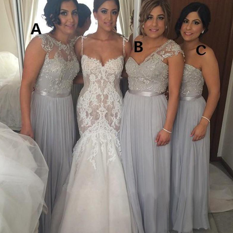 2015 silver chiffon bridesmaid dresses cheap a line beaded for Wedding dresses cheap lace