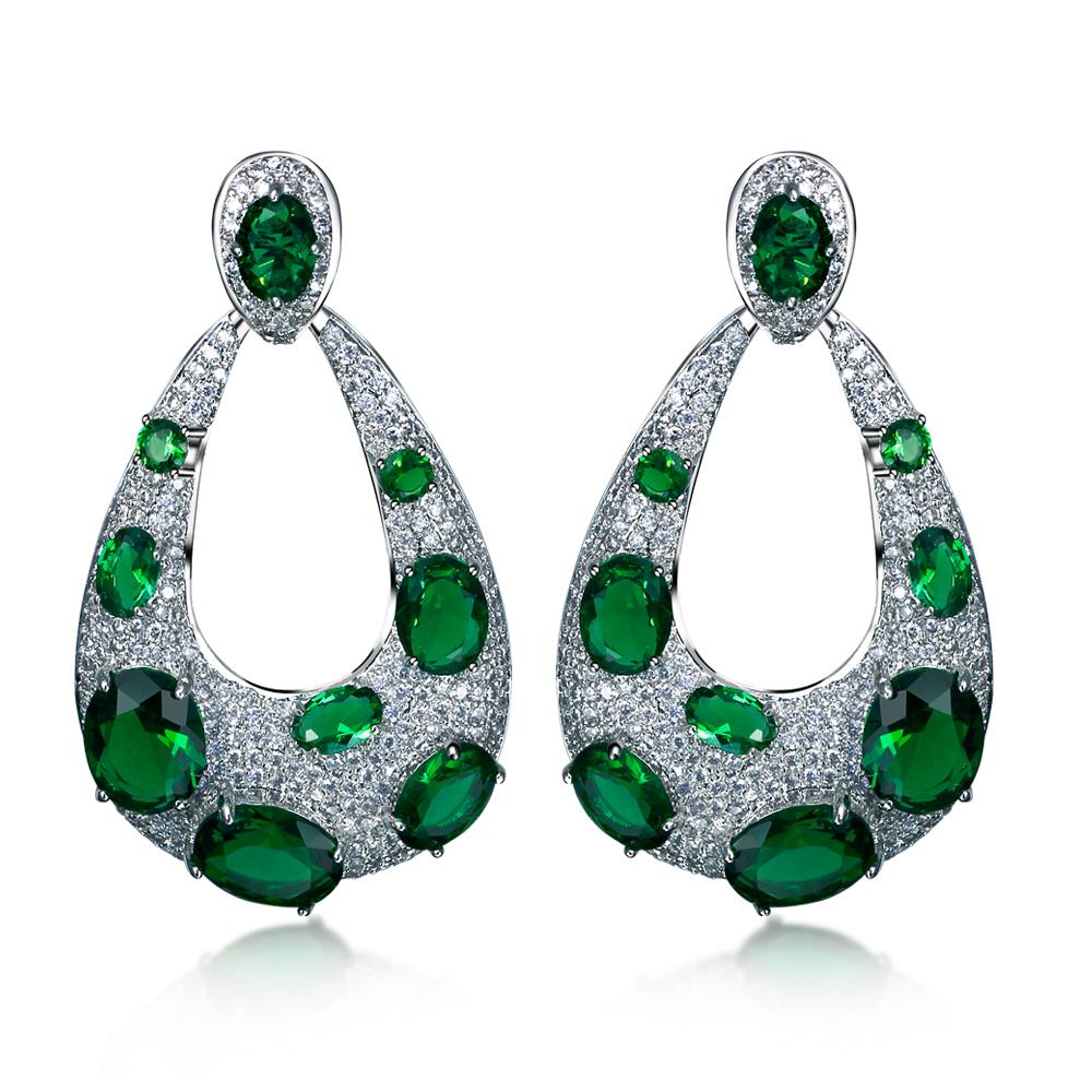 Women big Drop Earrings rhodium plated with CZ stone Romantic style fashion jewelry High quality Free shipment(China (Mainland))
