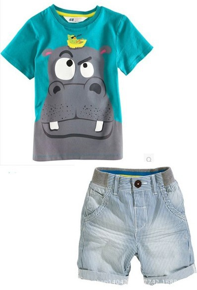 2015 Europe America Baby Boys Clothing Set Cute Hippo T-shirt+Lesiure Short Pants 2-7 Ages Summer Kids Clothes C20 - SNOW LOVE store