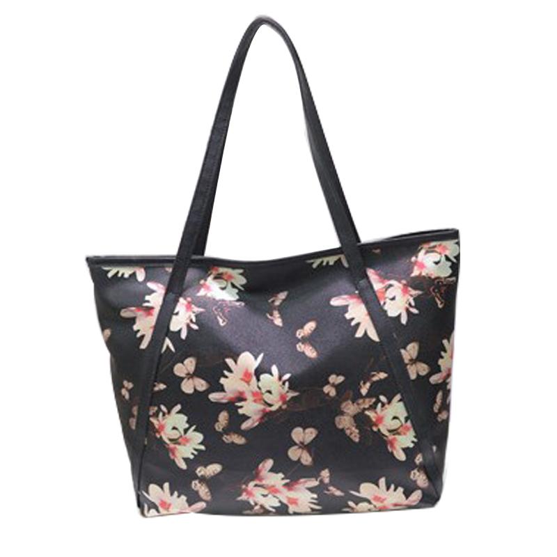 2016 women bag handbags over shoulder sling summer leather tote casual big shopping print flower girl high quality designer(China (Mainland))
