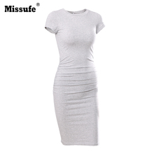 Buy Missufe Side Shirring Slim Pencil Tunic 2017 Summer Female Casual Vestidos Party Bandage Bodycon Wear Work Women's Dresses for $10.93 in AliExpress store