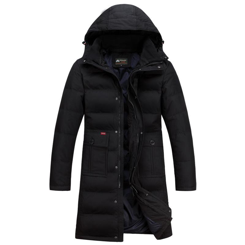 Зимняя куртка мужчин случайные капюшоном Съемный длинный большой размер XXXL куртка Army зеленый снег Ветрозащитный пуховик пальто