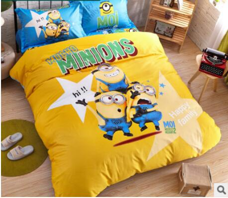 Home Textile 100% Cotton bedding Sets Twin Queen King size Yellow cartoon cotton 4pcs set Duvet Cover Set child bedroom set(China (Mainland))
