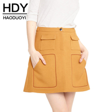 Buy HDY Haoduoyi Fashion Pockets Mini Skirts Women High Waist Female A-line Skirts Preppy Style Casual Solid Ladies Skirts for $11.69 in AliExpress store