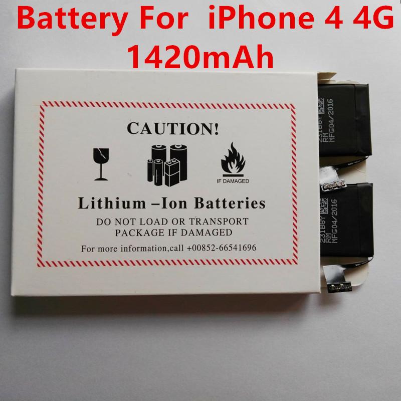 5Pcs/ Lot 5Pcs/ Lot Brand Original Replacement Li-ion Battery For iphone 4 4G 1420mAh Lithium polymer free shipping(China (Mainland))