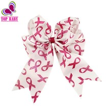 Newest 6Inch Boutique Breast Cancer Awareness Pink Ribbon Alligator Hair Bows With Hairclips Girls Headwear(China (Mainland))