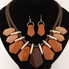 Trendy Fashion Candy Color Stone Geometric Necklace Earrings Set Female Choker Statement Jewelry Sets(China (Mainland))