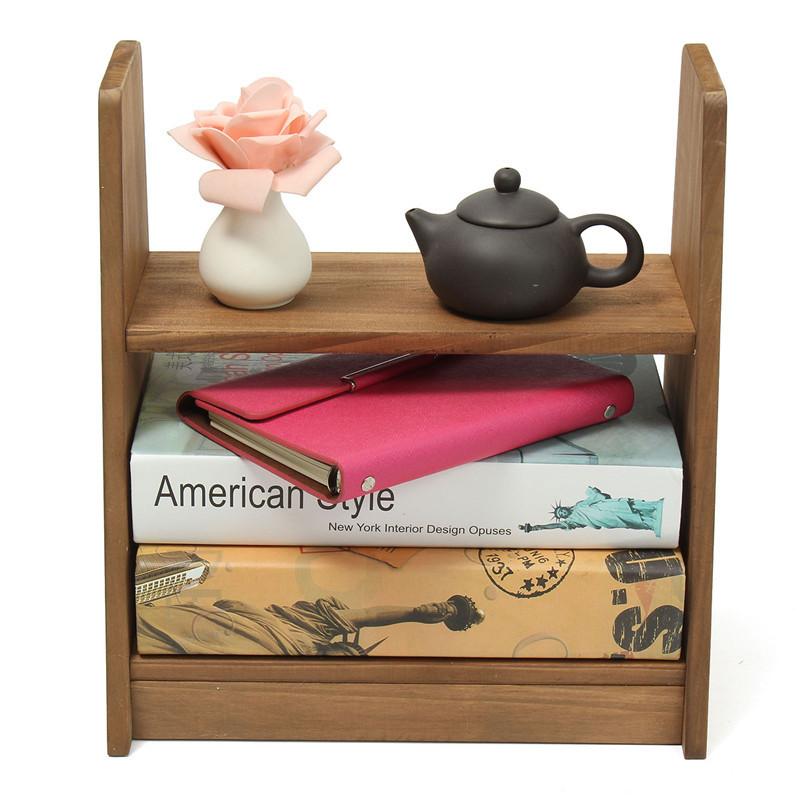 2016 Solid Wood Small Shelf Student Dormitory Desktop Shelf Small Office Bookshelf Home Bedroom