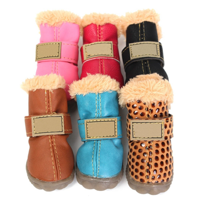 Newest !! Top Selling Slip-Resistant Multicolors Winter Dog Boots Waterproof Anti-Slip Pet Puppy Shoes Protective Snow Booties(China (Mainland))