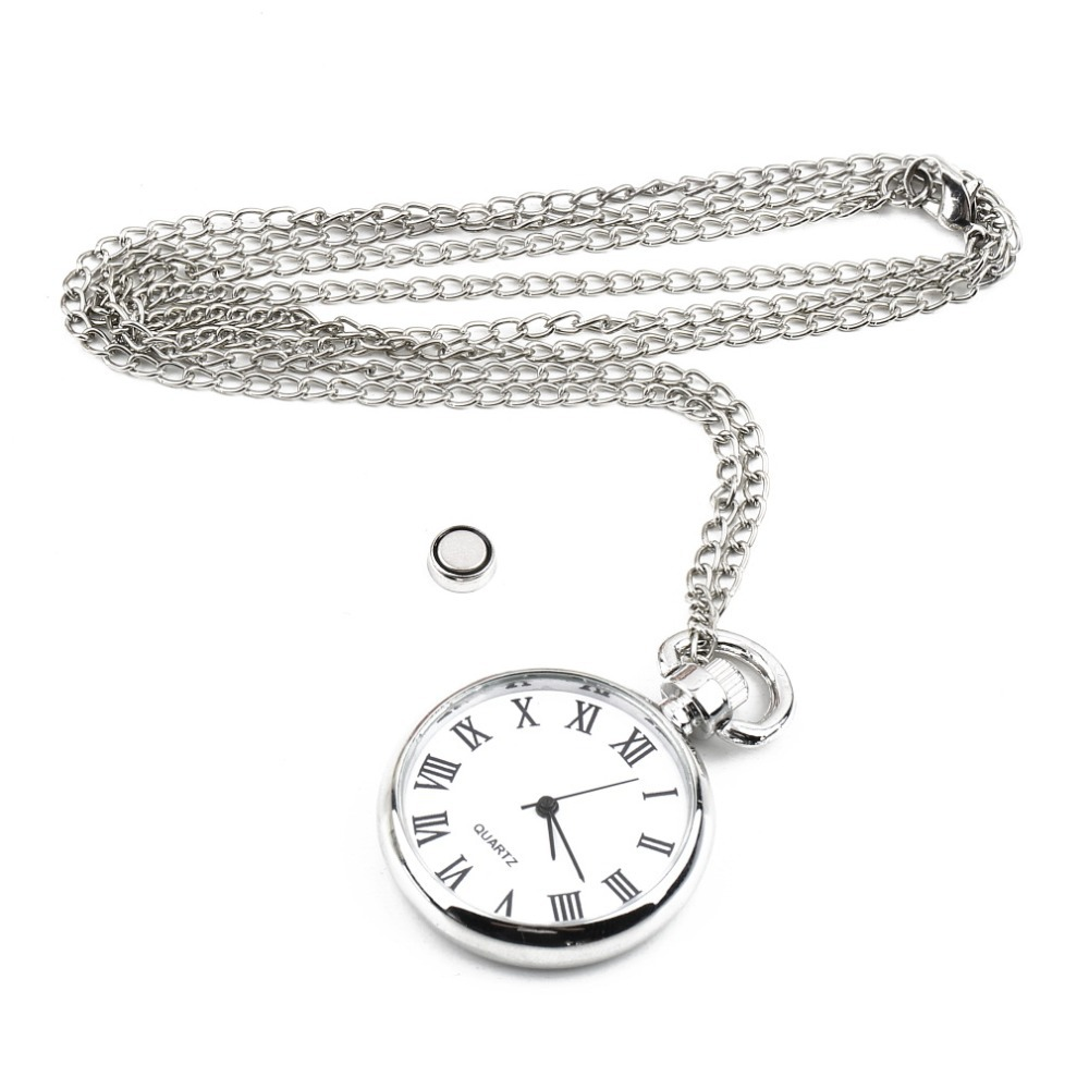 1pcs Quartz Round Pocket Watch Dial Vintage Necklace Silver Chain Pendant Antique Style 2015 Personality Pretty