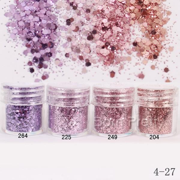 Nail Art 10ml Pink Purple Mixed Nail Glitter Powder Hexagon Shape Glitter Nail Powder Sheets Tips Nail Art Set 1Box