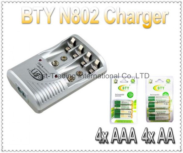 Smart AA AAA Rechargeable Battery BTY N-802 EU US Charger+4x 1.2V 3000mah+4x 1350mah rechargeable Ni-MH battery - Fast-Trading Center store