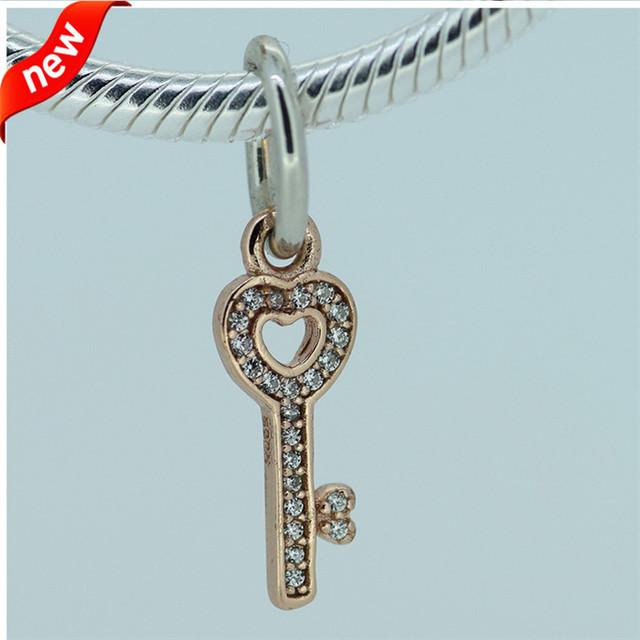 Настоящее 925-Sterling-Silver роуз золотой мотаться CZ камней брелок бусины подходит европейский женщина стиль ювелирный шарм браслеты змея цепи