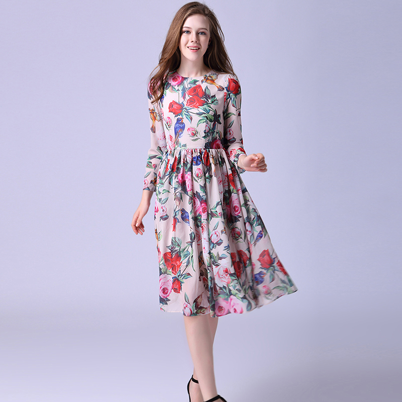 Beautiful Dress 2016 Summer European New Arrival Fashion Women Zipper Long Sleeve Rose and Birds Print Above Knee Dress(China (Mainland))