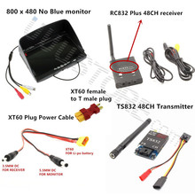 FPV Combo System 5.8Ghz 5.8g 600mw boscam Transmitter ts832 and Receiver RC832 No blue monitor Set for Gopro Dji RC Racing drone