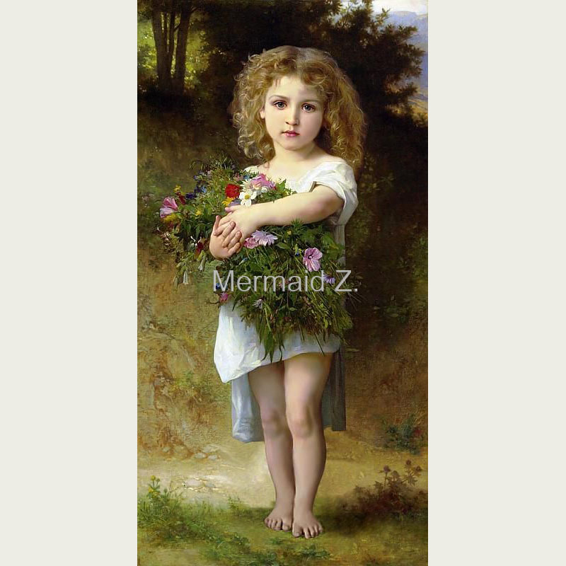 Hand-painted Artwork The Little Knitter William-Adolphe Bouguereau Oil Painting On Canvas Living room decor canvas painting(China (Mainland))